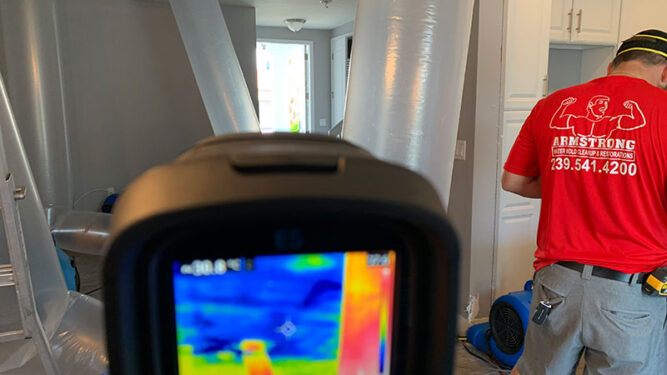 Checking for Moisture with Water Damage Flood in Cape Coral, FL